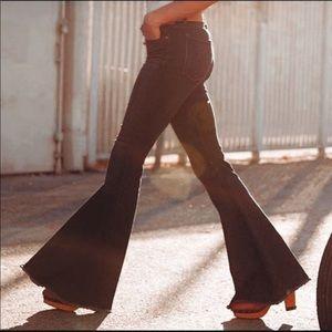 Free People Super Flare Raw Hem Jeans